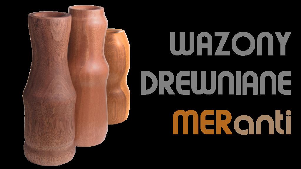 Drewniane wazony trzy sztuki kolekcja mer