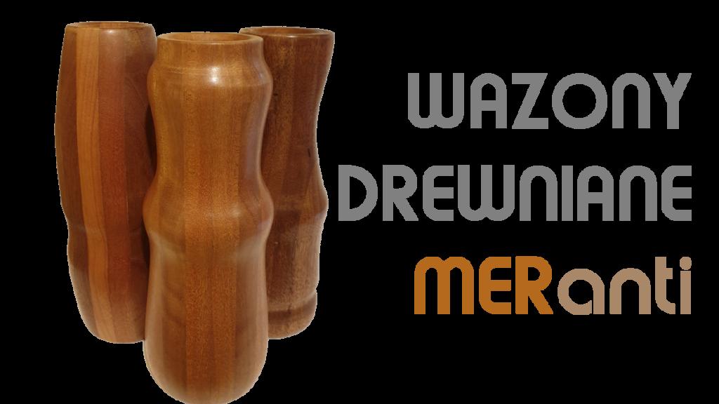 Trzy wazony drewniane meranti