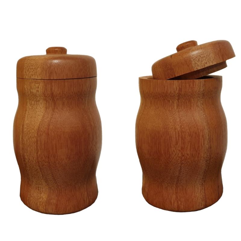 Dwa pojemniki z drewna meranti
