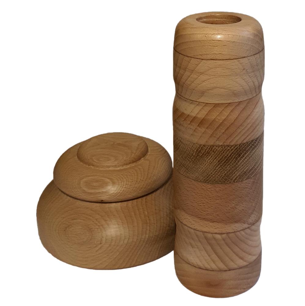 Szkatułka i wazon bukowy rarity