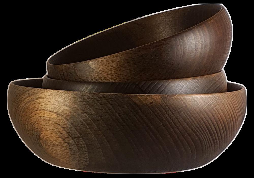 Trzy drewniane miski Pik