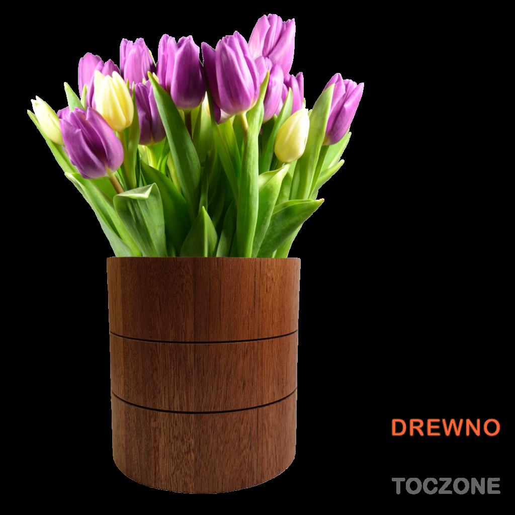 Kompozycja tulipany wazon drewiany