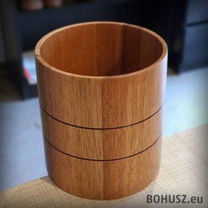 Szeroki wazon pojemnik drewniany meranti
