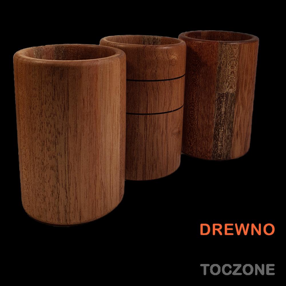 Trzy kubki - klejone drewno meranti