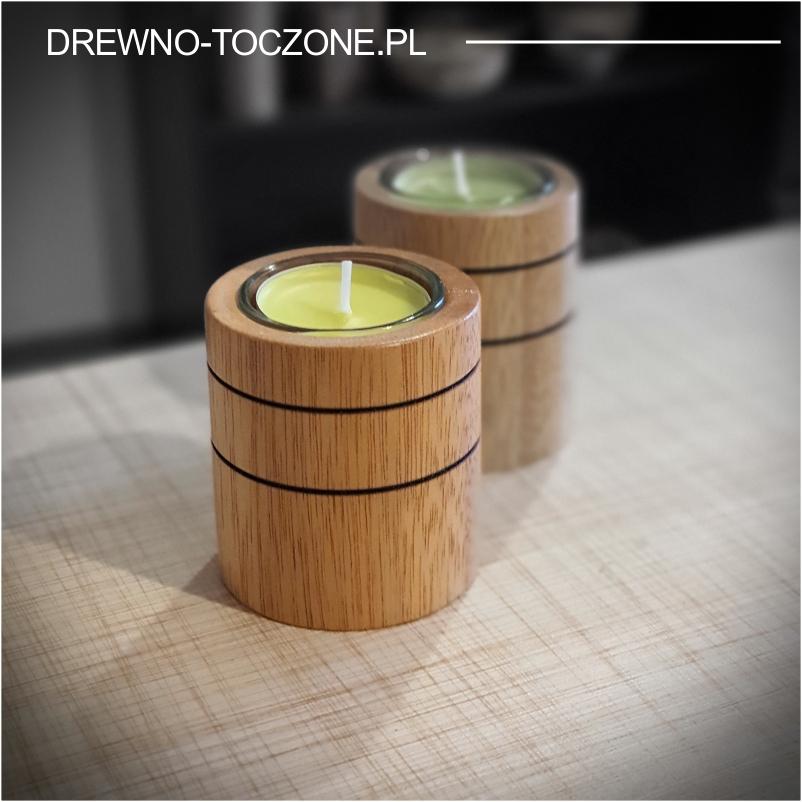 Świeczniki drewniane cylinder meranti Wzór-2
