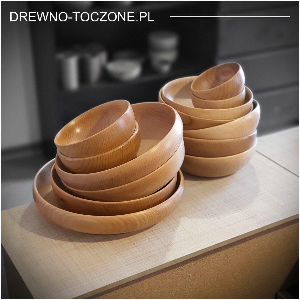 Ekspozycja miski drewniane bukowe