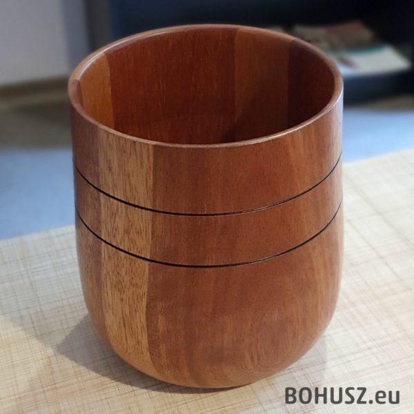 Owalny wazon pojemnik drewniany meranti