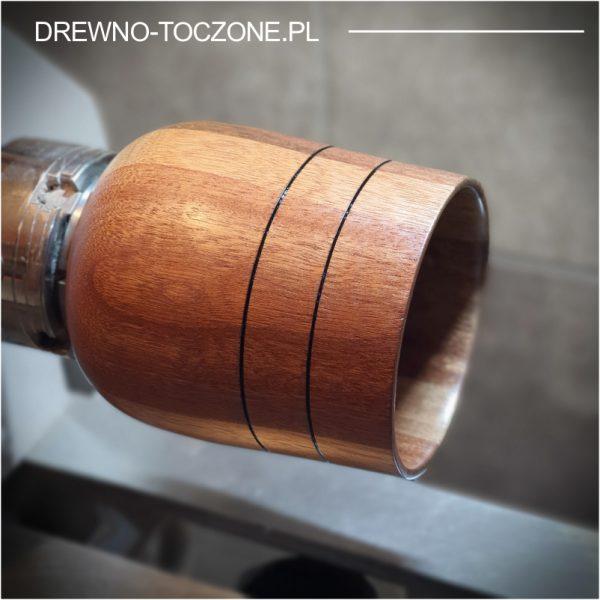 Owalny wazon pojemnik drewniany 2