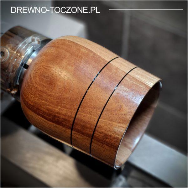 Owalny wazon pojemnik drewniany 3