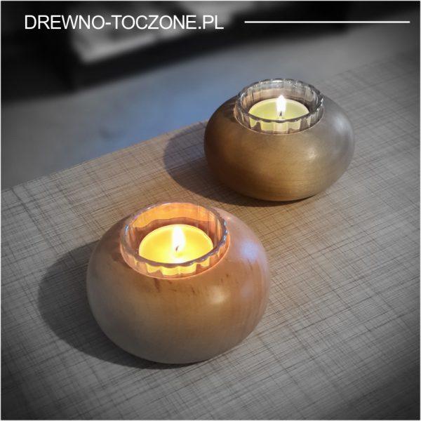 Świeczniki drewniane dysk, wzór 5